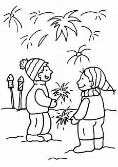 Silvester Ausmalbilder Zum Ausdrucken Ausmalbild Silvester Kinder Beim Silvesterfeuerwerk