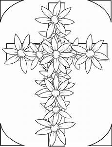 printable cross with flowers coloring page for supplyme