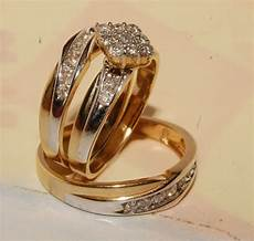 man s and yellow gold wedding band engagement ring trio his hers ebay