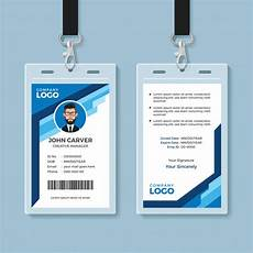 blue graphic employee id card template vector premium