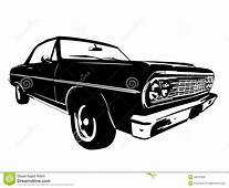 Vintage American Muscle Car Vector Silhouette Stock