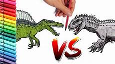 spinosaur vs indominus rex color pages learn to draw and