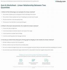 quiz worksheet linear relationship between two quantities study com