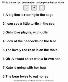 Putting Correct Punctuation Worksheet Turtle Diary