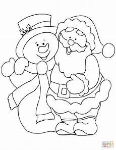 Ausmalbilder Weihnachten Santa Claus With Snowman Coloring Page Free Printable