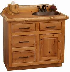 custom rustic alder wood log cabin lodge bathroom vanity