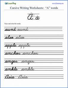 cursive writing sentences worksheets free 22145 free cursive words worksheets printable k5 learning