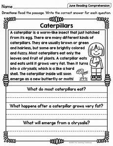 worksheets reading comprehension 18439 june reading comprehension passages for kindergarten and grade school