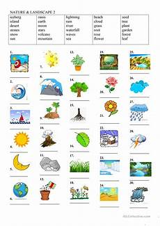 nature elements worksheets 15116 nature landscape 2 esl worksheets for distance learning and physical classrooms