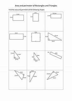 area and perimeter of rectangles and triangles worksheets by mark2376 teaching resources tes