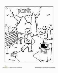 places in the school coloring pages 18035 park worksheet education