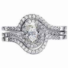 925 sterling silver 3 piece oval cut halo wedding engagement ring