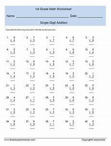 1st grade math worksheet addition single digit addition worksheets for grade