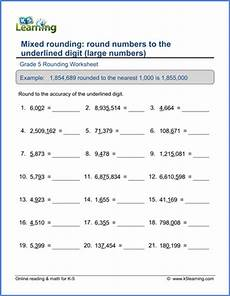grade 5 math worksheets large numbers to the underlined digit k5 learning