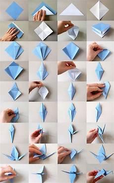 Gesamtanleitung Origami Kranich Basteln Origami