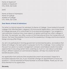 writing a college admission application letter in corrent format