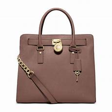 michael kors hamilton large saffiano leather tote in brown