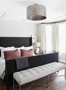 Bedroom Ideas Black Bed by Black Wingback Bed With White And Gray Curtains