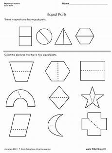 two equal parts a beginning fraction worksheet