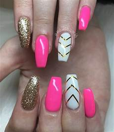 day 141 hot pink and gold chevron nail art nails magazine