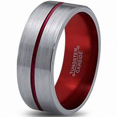 charming jewelers tungsten wedding band ring 8mm for men grey flat center line pipe