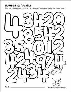number scramble activity worksheet for number 4 for