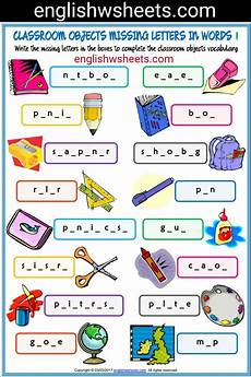 worksheets classroom objects 18220 classroom objects esl printable missing letters in words worksheets for classroom objects