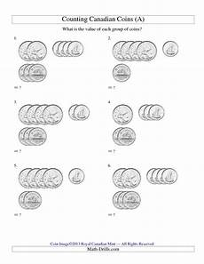 canadian money math worksheets grade 1 2483 counting small collections of canadian coins no dollar coins a and many other free math