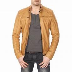 manteau cuir camel homme