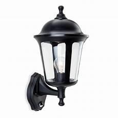 firstlight boston single light outdoor wall lantern in black finish with pir sensor castlegate