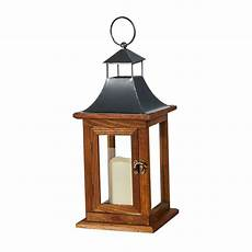 smart solar portland 14 in led candle wooden lantern 84086 lc the home depot