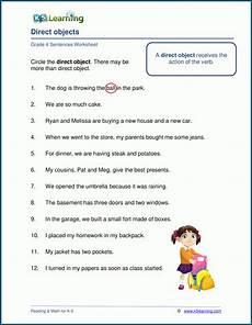 direct objects worksheets k5 learning