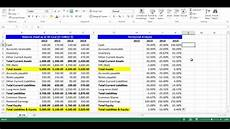 horizontal analysis for balance sheet items using excel