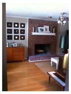 white mantle dark brick fireplace brick fireplaces