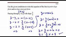 write the equation of the line that passes through the point 4 2 with slope 3 2 youtube