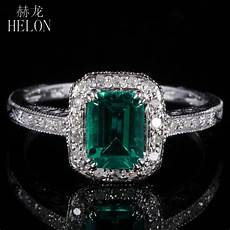helon 7x5mm 0 81ct emerald pave 0 2ct diamonds fine ring real 10k white gold engagement wedding