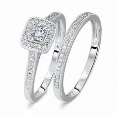 1 1 3 ct t w round cut diamond ladies bridal wedding ring set 10k white gold br572w10k jpg