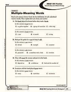 multiple meaning words worksheet for 6th 8th grade lesson planet