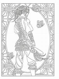 adult coloring page from creative haven steunk fashions coloring book dover publications