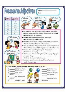 possessive adjectives possessive adjectives esl printable english grammar exercise worksheets