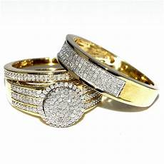 his and her bridal rings set trio 0 73ct 10k yellow gold halo style wedding ring ebay