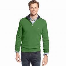 hilfiger cooper half zip sweater in green for lyst