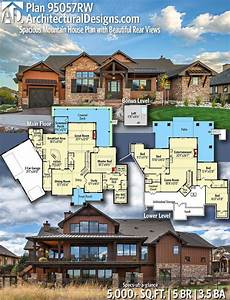 mountain house plans rear view plan 95057rw spacious mountain house plan with beautiful