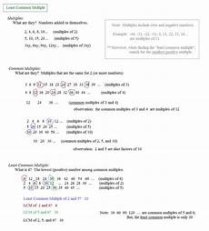 math plane greatest common factor gcf least common multiple lcm