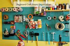 pegboard craft room organization eclectic