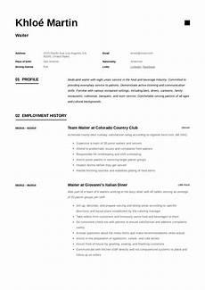 resume description for a waitres