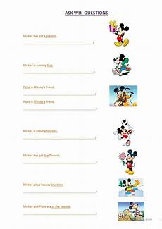 wh questions with mickey mouse worksheet free esl
