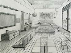 one point perspective fancy bed room kunstunterricht