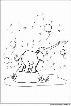 ausmalbilder elefant mit luftballons