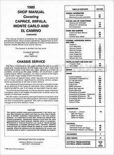 car service manuals pdf 1994 chevrolet caprice user handbook 1984 1985 chevrolet shop manuals cd caprice impala monte carlo el camino caballero